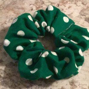 Green white Polkadot stocking stuffer scrunchie